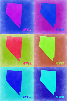 Modern Poster Painting - Nevada Pop Art Map 2 by Naxart Studio