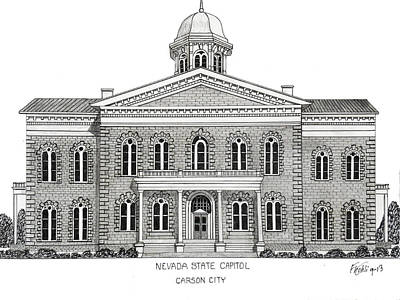 Drawing - Nevada State Capitol by Frederic Kohli