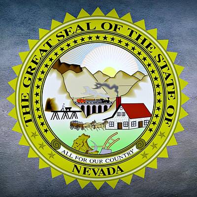 President Lincoln Digital Art - Nevada State Seal by Movie Poster Prints