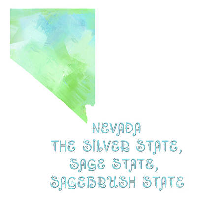 Nevada - The Silver State - Sage State - Sagebrush State - Map - State Phrase - Geology Art Print by Andee Design
