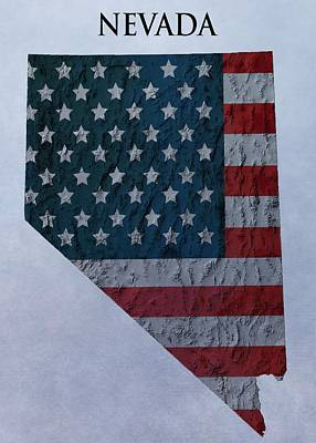American Flag Mixed Media - Nevada Topographic Map by Dan Sproul