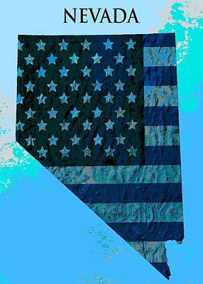 American Flag Mixed Media - Nevada Topographic Poster by Dan Sproul