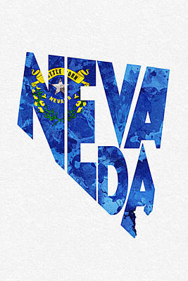 Abstract Map Mixed Media - Nevada Typographic Map Flag by Ayse Deniz