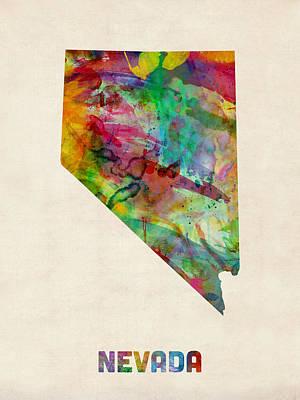 Digital Art - Nevada Watercolor Map by Michael Tompsett