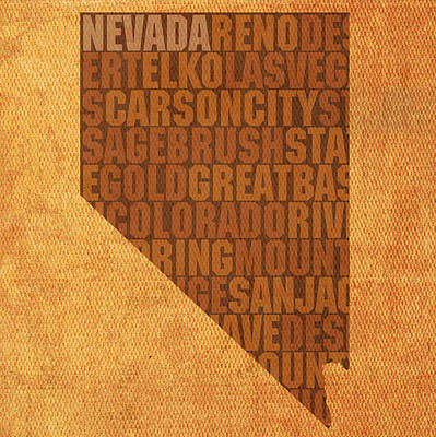 Wall Art - Mixed Media - Nevada Word Art State Map On Canvas by Design Turnpike