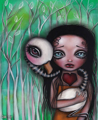 Big Eyed Girl Painting - Never Alone by  Abril Andrade Griffith