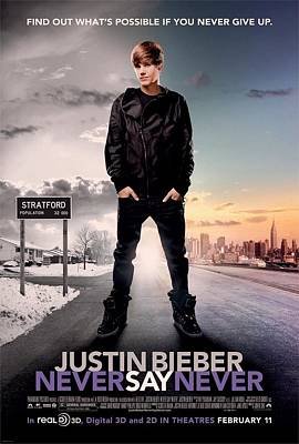 Bieber Photograph - Never Say Never 1 by Movie Poster Prints
