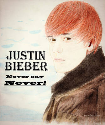 Musicians Drawings - Never Say Never by Larry Ferreira