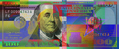 Digital Art -  2009 Series Pop Art Colorized U. S. One Hundred Dollar Bill  V.3.0 by Serge Averbukh