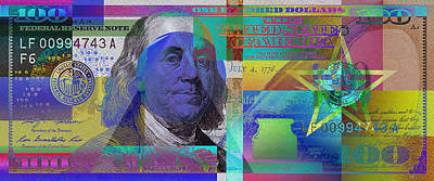 Digital Art - New 2009 Series Pop Art Colorized Us One Hundred Dollar Bill  V.3.1 by Serge Averbukh
