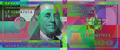 Digital Art - New 2009 Series Pop Art Colorized Us One Hundred Dollar Bill  V.3.3 by Serge Averbukh