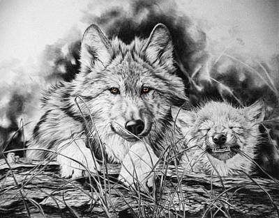 Wolf Pup Painting - New Adventures by Donna  Hillman Walsh