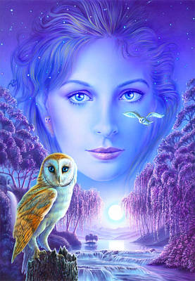 New Age Owl Girl Print by Andrew Farley