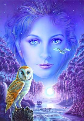 New Age Owl Girl Art Print