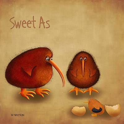 Kiwi Digital Art - New Arrival. Kiwi Bird - Sweet As - Boy by Marlene Watson