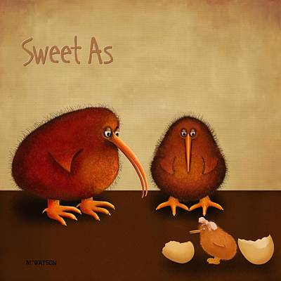 Kiwi Digital Art - New Arrival. Kiwi Bird...sweet As -girl by Marlene Watson