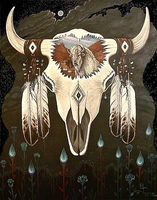 Buffalo Skull Painting - 'new Beginnings' by Olivia Francis