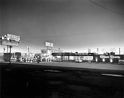 Stop Sign Photograph - New Breed Of Truck Stop by Underwood Archives