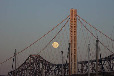 Photograph - New Bridge And Full Moon by Michael Courtney