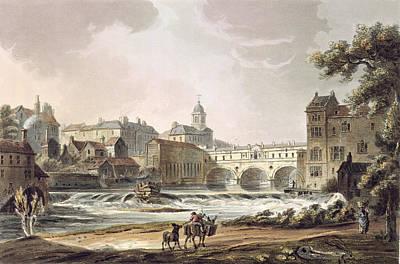 Donkey Drawing - New Bridge, From Bath Illustrated by John Claude Nattes