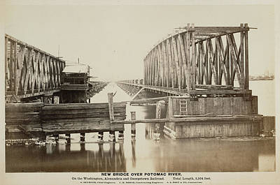 Georgetown Drawing - New Bridge Over Potomac River. On The Washington by Litz Collection