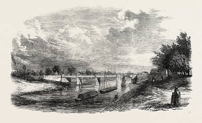 Upton Drawing - New Bridge Over The Severn At Upton 1854 by English School