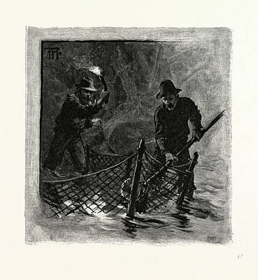 Emptying Drawing - New Brunswick, Emptying Salmon Nets By Torchlight by Canadian School