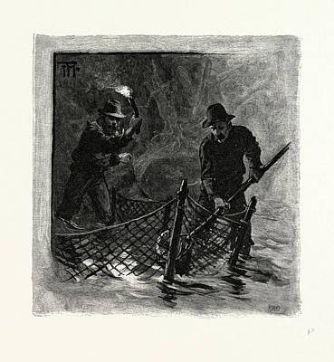 New Brunswick, Emptying Salmon Nets By Torchlight Art Print by Canadian School