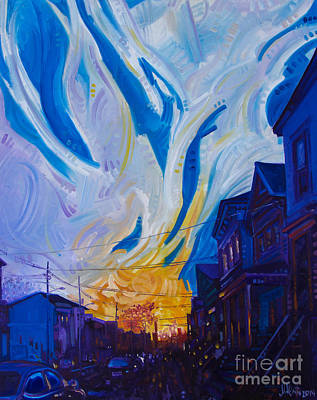 Telephone Poles Painting - New Brunswick Sunset by Michael Ciccotello