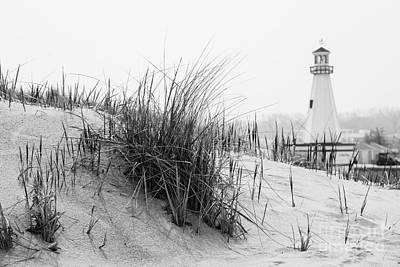 Landmarks Royalty-Free and Rights-Managed Images - New Buffalo Michigan Lighthouse and Beach Grass by Paul Velgos