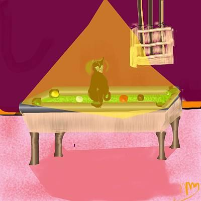 Billiards Hall Digital Art - New Cat At The Pool Hall by Michael Bartlett