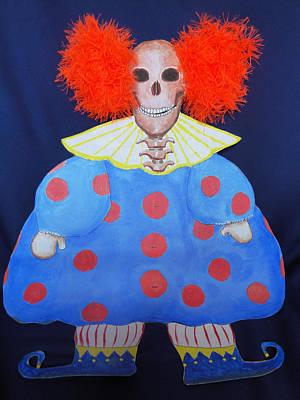 Skull Mixed Media - New Clown On The Block by Sandra Lewis