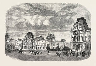 Louvre Drawing - New Court Of The Louvre, Paris, France by French School