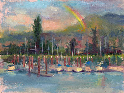 Multi Colored Painting - New Covenant - Rainbow Over Marina by Talya Johnson