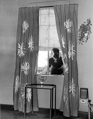 Floral Vintage Window Photograph - New Curtains For The House by Underwood Archives