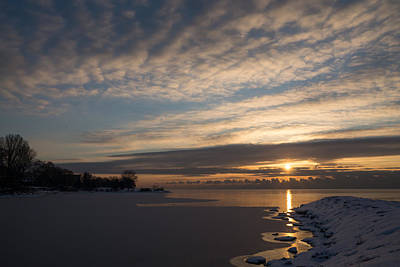 Photograph - New Day On Ice - Sunrise On Lake Ontario  by Georgia Mizuleva
