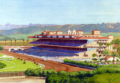 Horse Racing Painting - New Del Mar Racetrack by Mary Helmreich