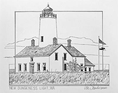 Lighthouse Drawing - New Dungeness Light by Ira Shander