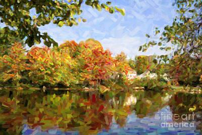 Digital Art - New England Autumn Lake Usa by Liz Leyden