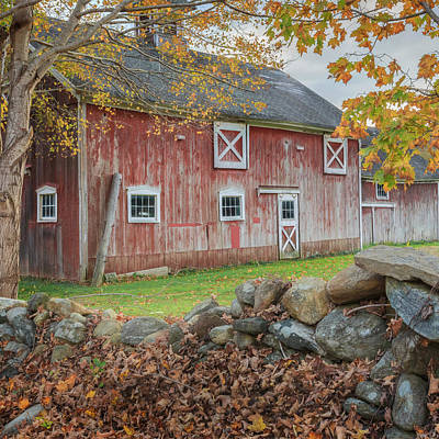 Red Barn. New England Photograph - New England Barn Square by Bill Wakeley