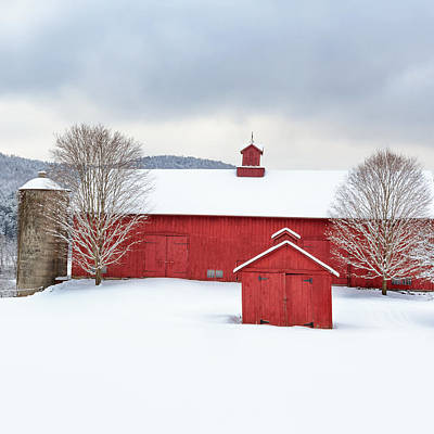 Red Barn In Winter Photograph - New England Barns Square by Bill Wakeley