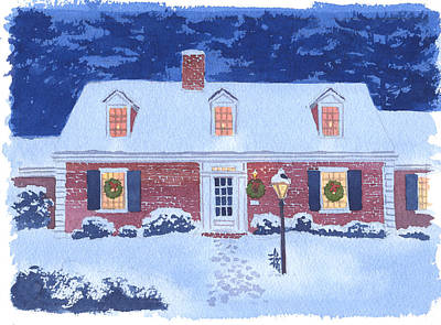 Snow Scene Wall Art - Painting - New England Christmas by Mary Helmreich