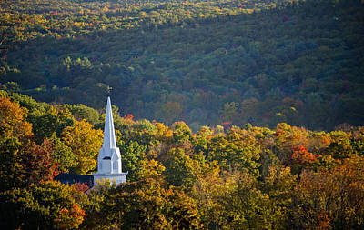 Church Photograph - New England Church Steeple In Fall Foliage by Donna Doherty