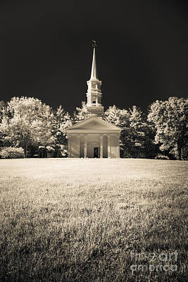 New England Classic Church Infrared Art Print by Edward Fielding