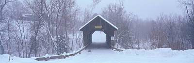 New England Covered Bridge In Winter Art Print by Panoramic Images