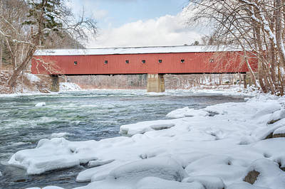 Photograph - New England Covered Bridge Winter by Bill Wakeley