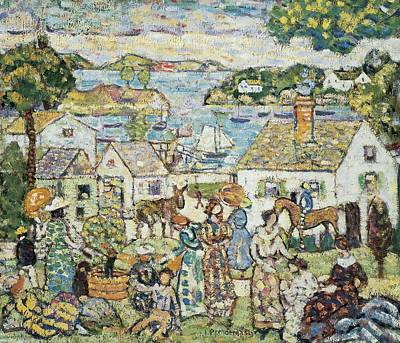 Post-impressionist Photograph - New England Harbour, C.1919-23 Oil On Canvas by Maurice Brazil Prendergast