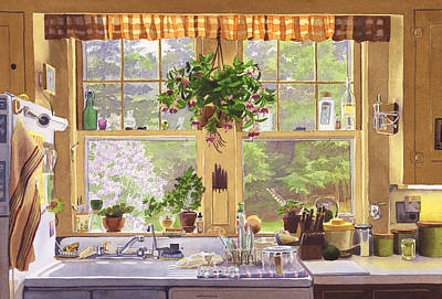 New England Kitchen Window Original by Mary Helmreich