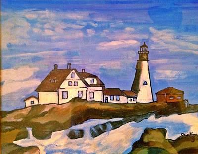 New England Lighthouse Painting - New England Lighthouse by Christina Campo-Abdoun