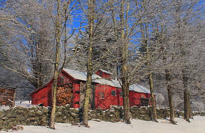 Vermeer Rights Managed Images - New England Maple Sugar House in Late Winter Royalty-Free Image by John Burk